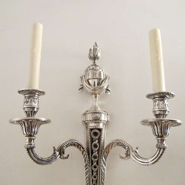 Pair of Louis XVI Style Silver Plated Wall Sconces at 1stdibs
