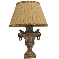 Italian Silver Giltwood Lamp