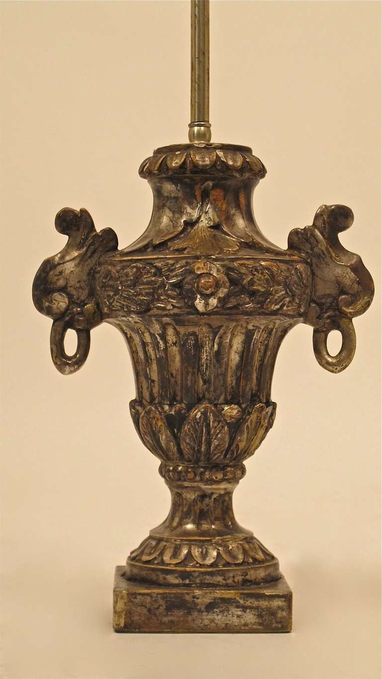 Silvered Italian Silver Giltwood Lamp For Sale