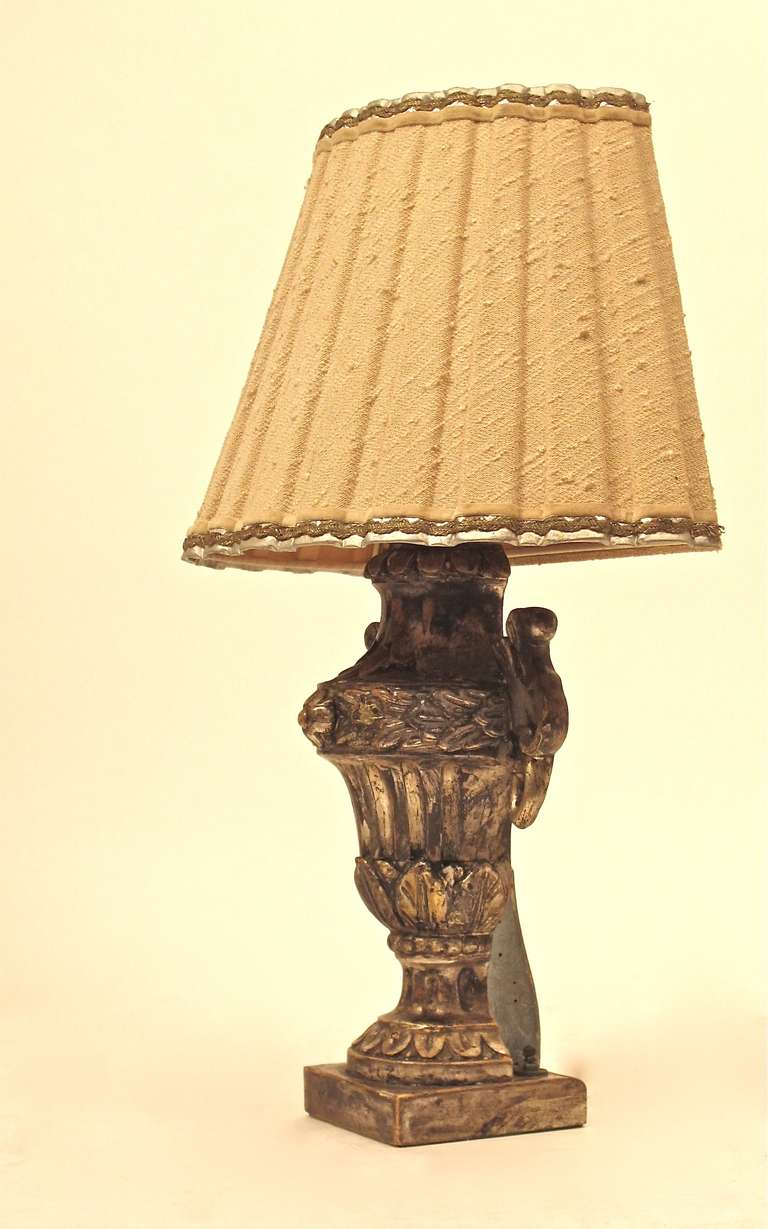 18th Century and Earlier Italian Silver Giltwood Lamp For Sale