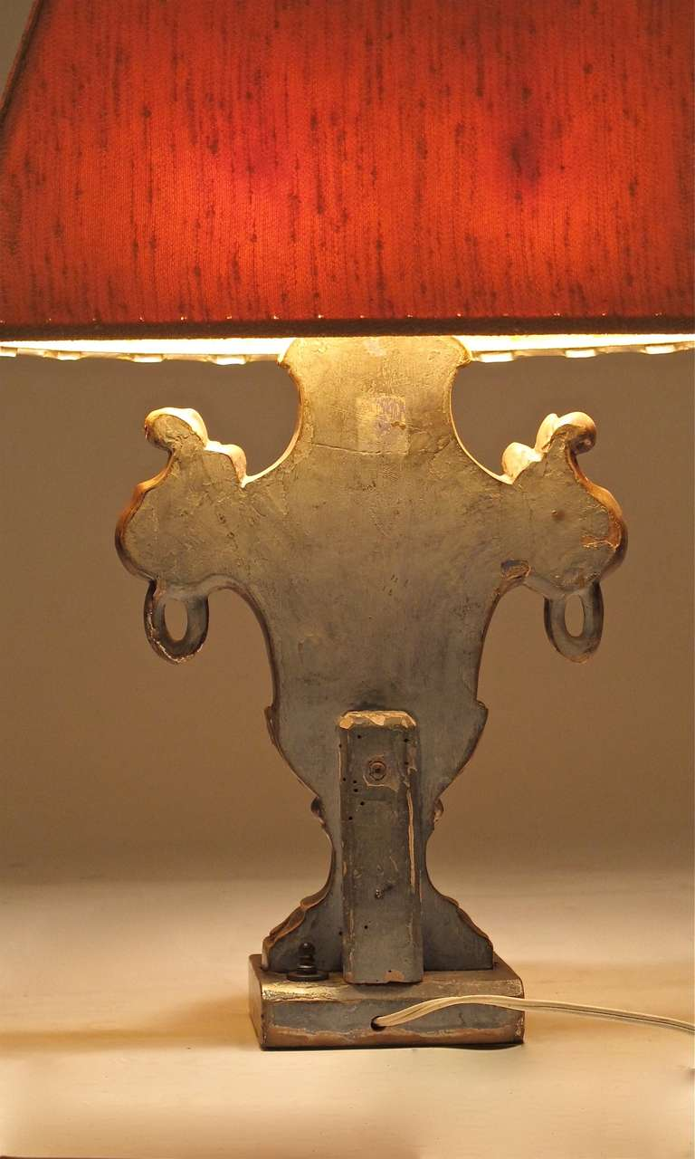 Gesso Italian Silver Giltwood Lamp For Sale