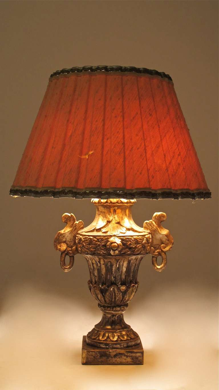 Italian Silver Giltwood Lamp For Sale 1
