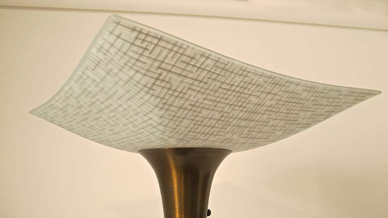 Brushed Mid-Century Floor Lamp with Black Lacquer Finish For Sale