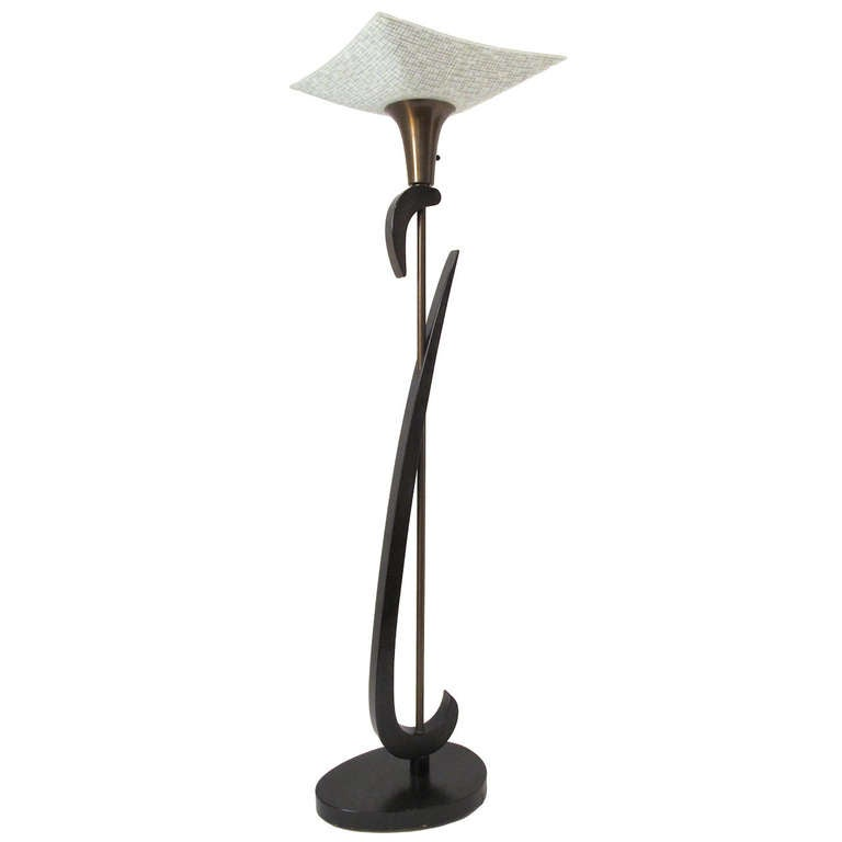 Mid-Century Modern Mid-Century Floor Lamp with Black Lacquer Finish For Sale