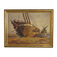 Beached Sailboat Painting by Helen Smith
