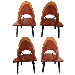 Set of Four Unique Rustic Tree Form Dining Chairs, American Mid-20th Century