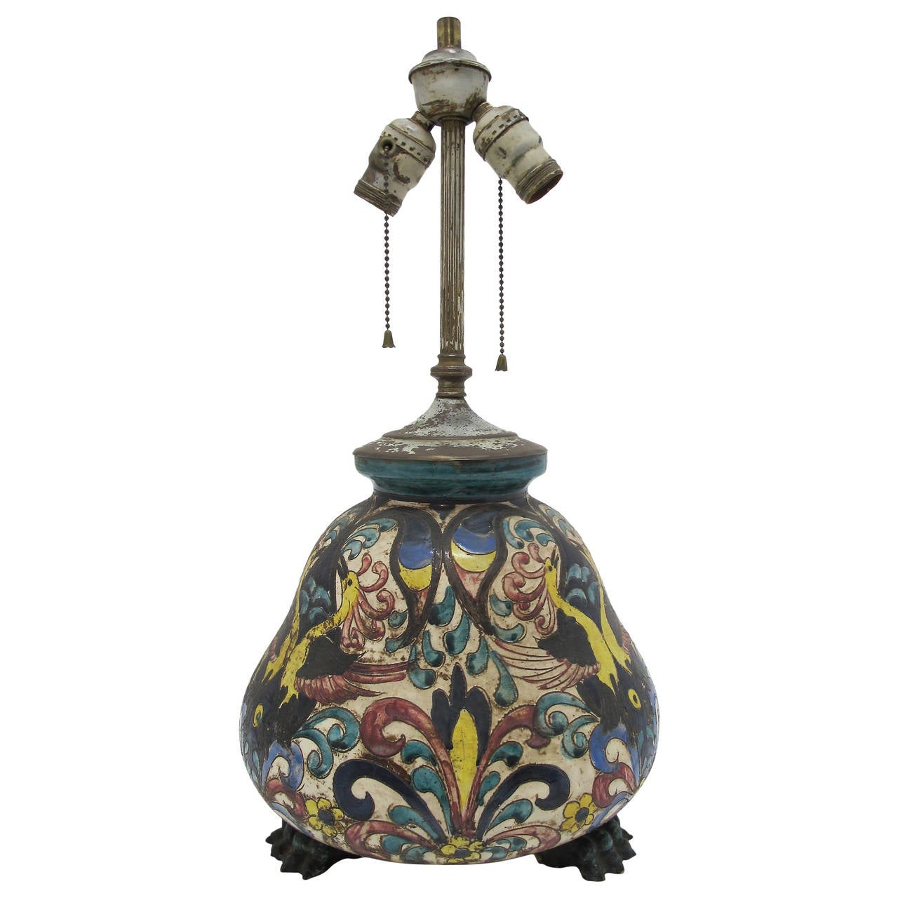 1920s Italian Pottery Lamp At 1stdibs