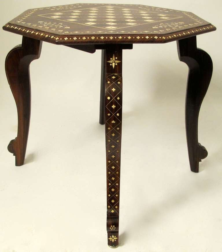 Anglo Indian Rosewood Game/Chess Table 3