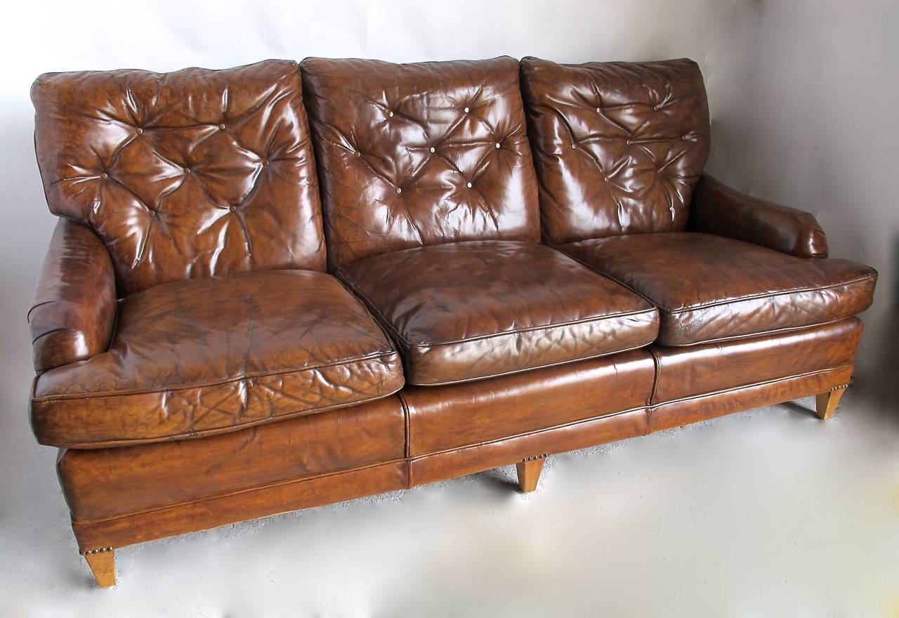 Mid Century Modern Tufted Leather Sofa Mid 20th Century For Sale