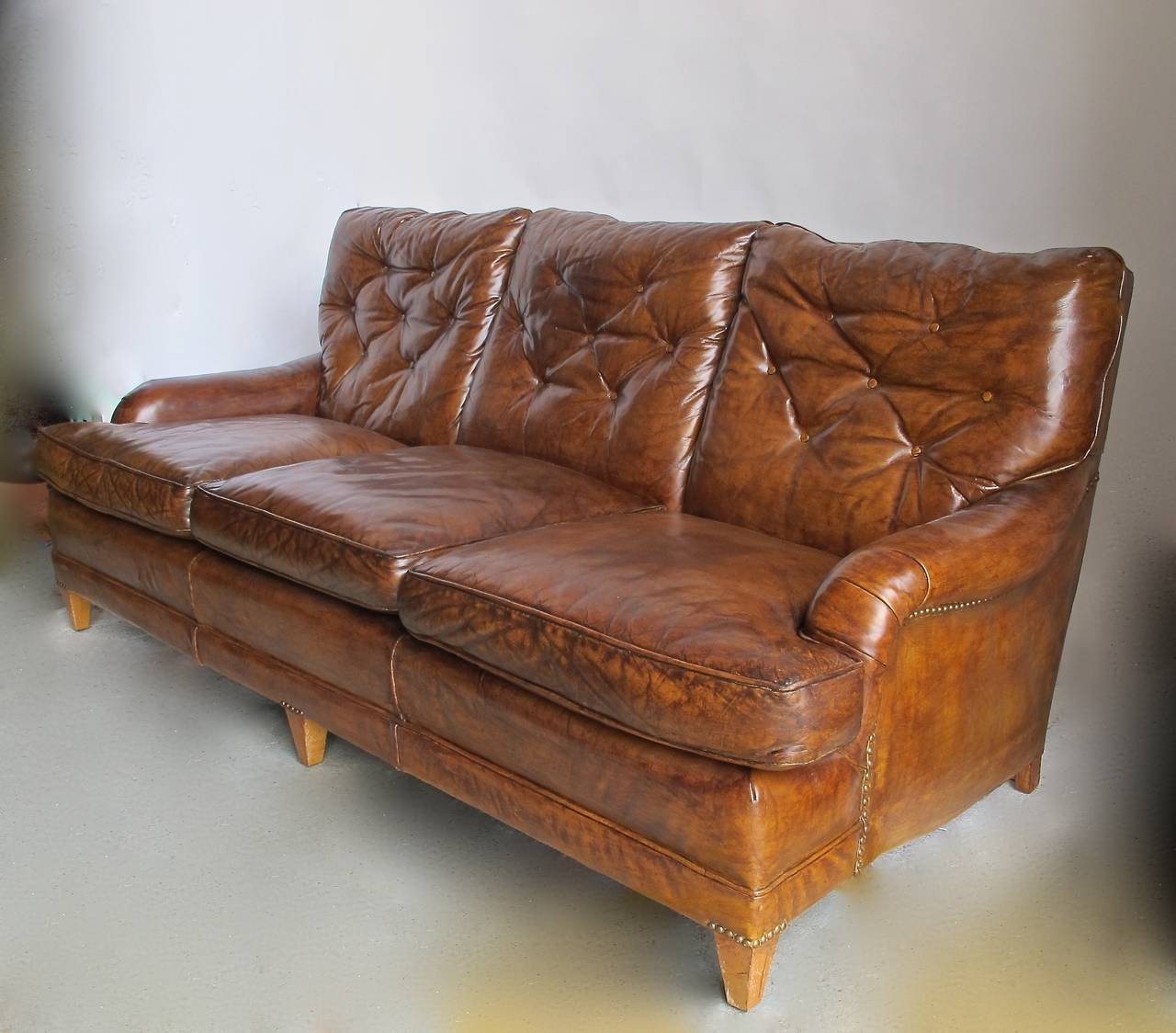 Tufted Leather Sofa Mid 20th Century At 1stdibs