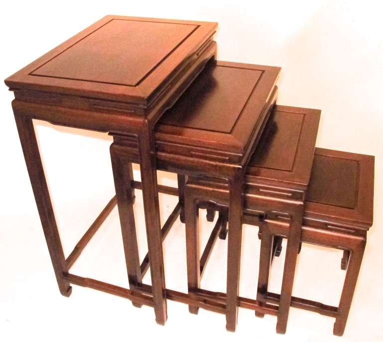 Exceptionnel Rosewood 4 Stacking Nesting Tables, Each Tier With Inset Rectangular Top,  The Apron With