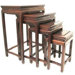 Set of 4 Chinese Rosewood Nesting Tables