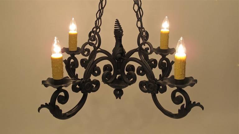 spanish wrought iron light fixture at 1stdibs. Black Bedroom Furniture Sets. Home Design Ideas