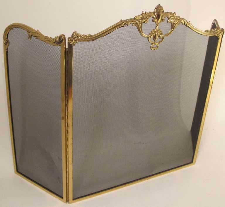 View this item and discover similar fireplace tools and chimney pots for sale at 1stdibs - Tri Fold Solid Brass French Style Fireplace Screen
