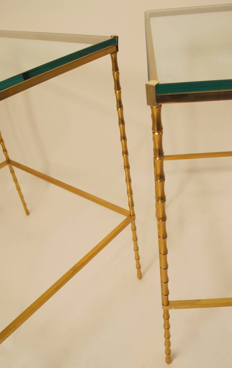 Pair of masion charles et fils brass and glass side tables for Table franco et fils
