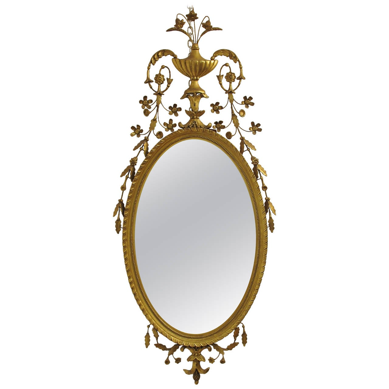 Adams style gilt carved and floral leaf embellished mirror for Adam style mirror