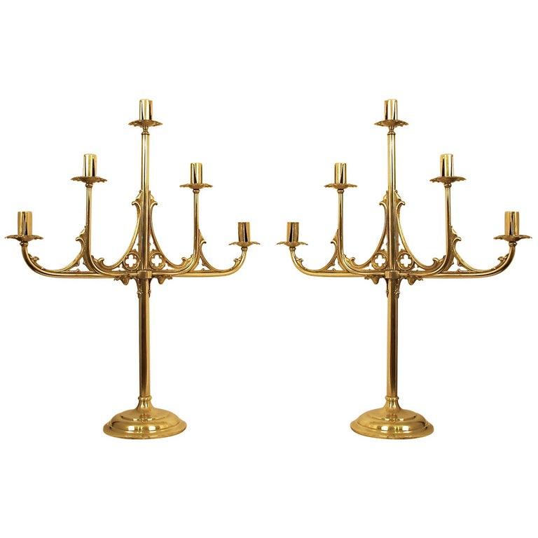Brass Gothic Revival Candelabra For Sale