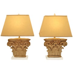Pair of Architectural Terra-Cotta Corinthian Capital Elements as Lamps