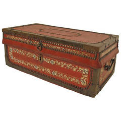 Small Chinese Export Red Leather Trunk