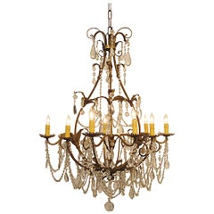 Italian Gilt Wrought Iron Chandelier