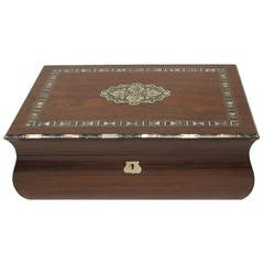 Rosewood Lap Desk with Nickel Silver and Mother-of-Pearl Inlay Writing Box