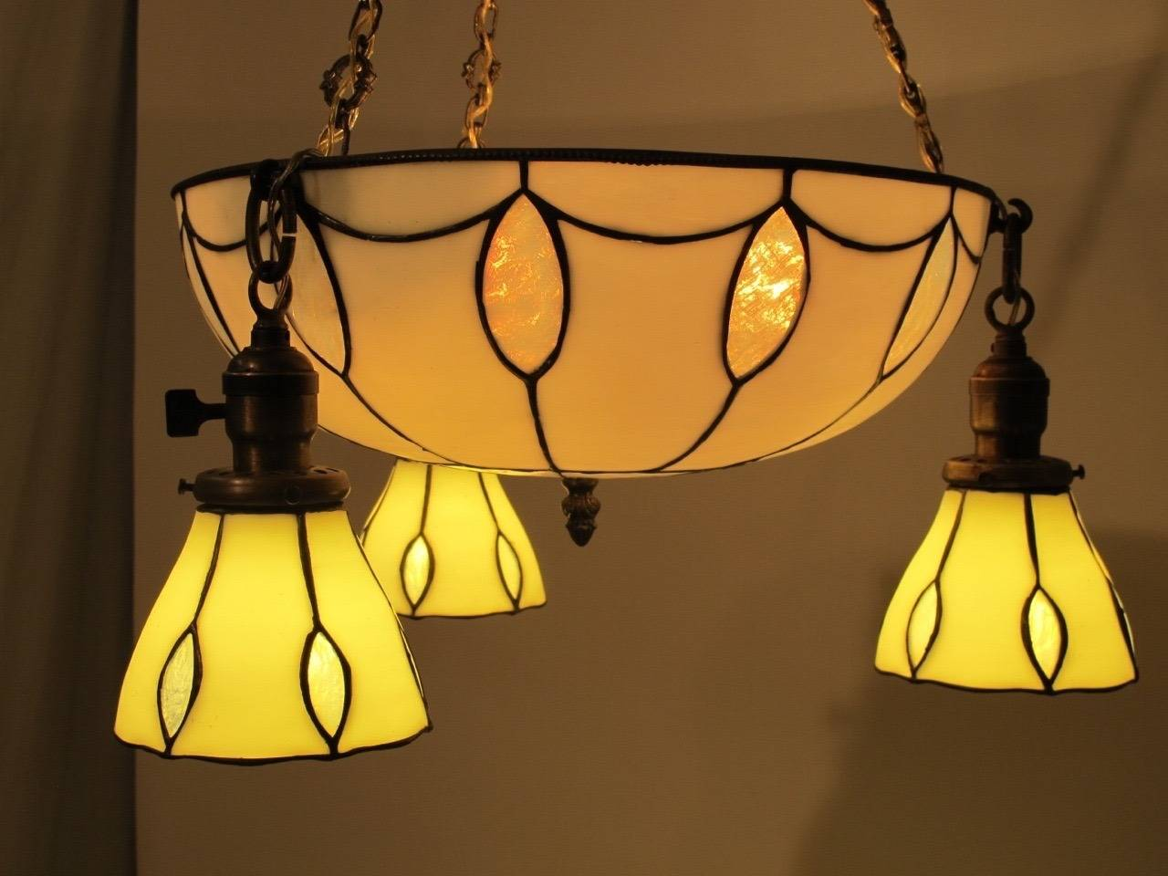 American Leaded Glass Light Fixture For Sale