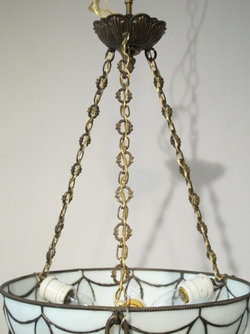 American Craftsman Leaded Glass Light Fixture For Sale