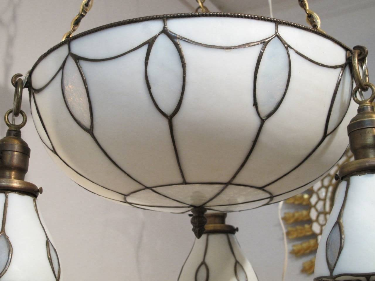 20th Century Leaded Glass Light Fixture For Sale