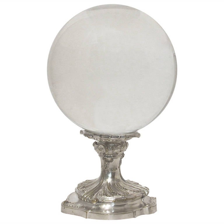 Large crystal glass ball on silver stand for sale at stdibs