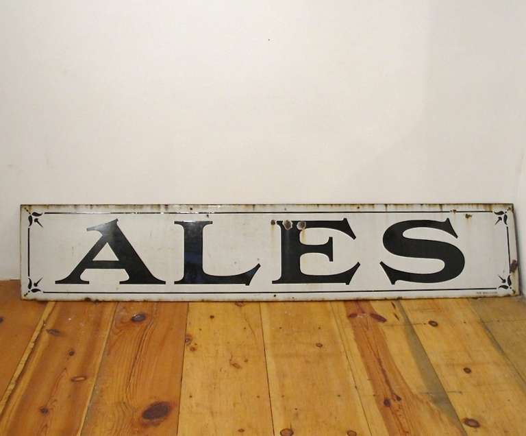 Very large antique blue and white enamel on steel sign, 1920's-1930's.