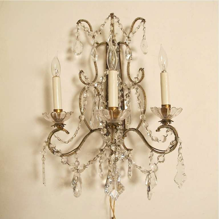 Italian Crystal Wall Sconces : Pair of Italian Crystal and Glass Sconces at 1stdibs
