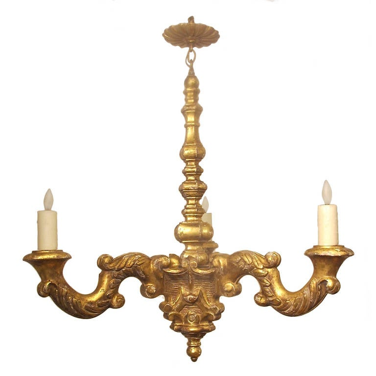 19th Century French, Giltwood 3 light Chandelier