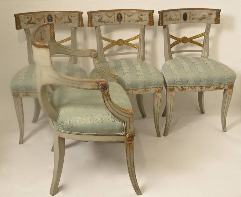 British Early 19th Century Hand Painted Adam Style Dining Chairs, Set of Eight For Sale