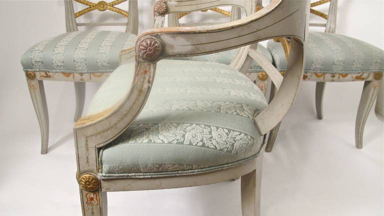 Hand-Painted Early 19th Century Hand Painted Adam Style Dining Chairs, Set of Eight For Sale