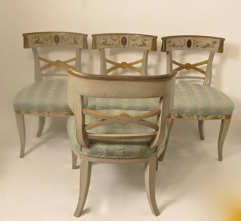 Early 19th Century Hand Painted Adam Style Dining Chairs, Set of Eight In Good Condition For Sale In San Francisco, CA