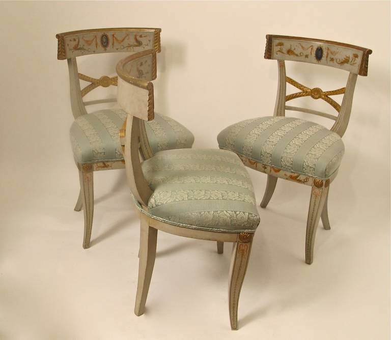 Early 19th Century Hand Painted Adam Style Dining Chairs, Set of Eight For Sale 1