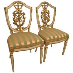 Pair of Italian Carved, Gilt and Painted Side Chairs, 19th Century