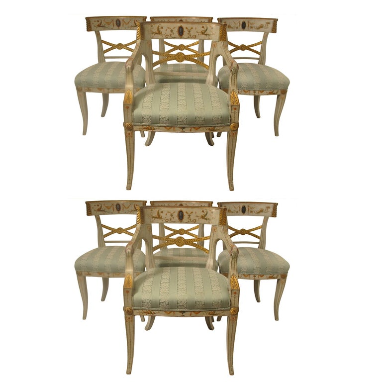 Early 19th Century Hand Painted Adam Style Dining Chairs, Set of Eight For Sale