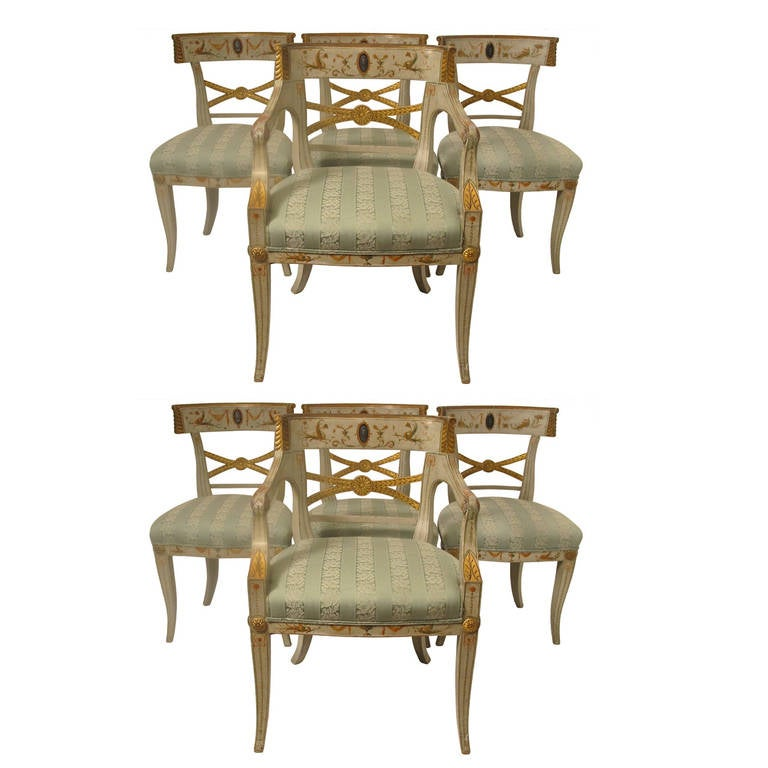 Set of Eight Painted Adams Style Dining Chairs For Sale at