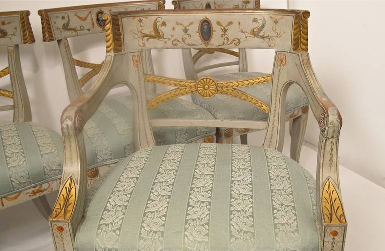 Early 19th Century Hand Painted Adam Style Dining Chairs, Set of Eight For Sale 2