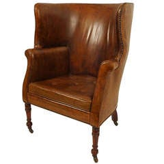 19thC Leather Barrel Back Wing Chair