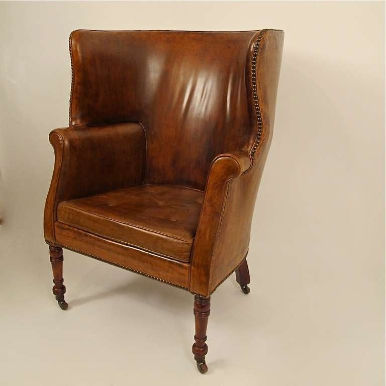 19thc Leather Barrel Back Wing Chair At 1stdibs