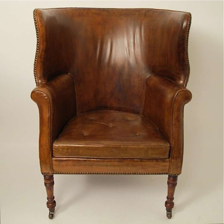Merveilleux 19thC Leather Barrel Back Wing Chair In Excellent Condition For Sale In San  Francisco, CA