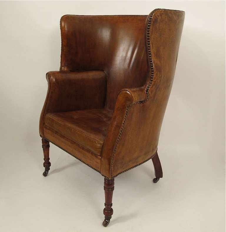 Pistachio Green Leather Sofa: 19thC Leather Barrel Back Wing Chair At 1stdibs