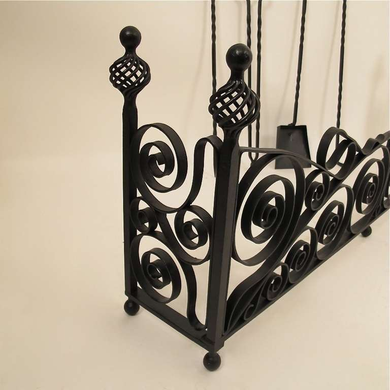 American Wrought Iron Fireplace Fender with Tools For Sale