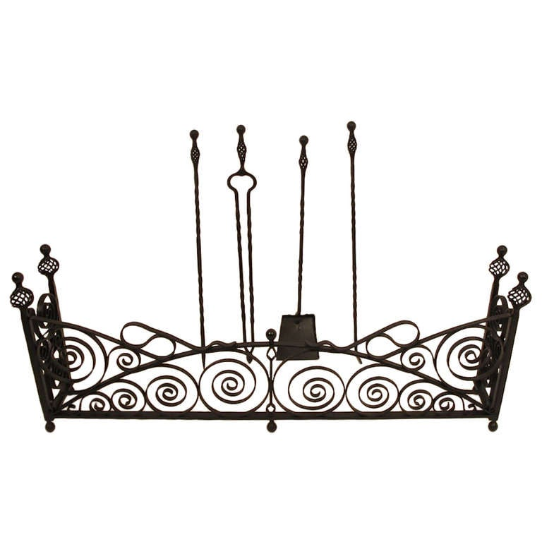 Wrought Iron Fireplace Fender with Tools For Sale