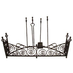 Wrought Iron Fireplace Fender with Tools