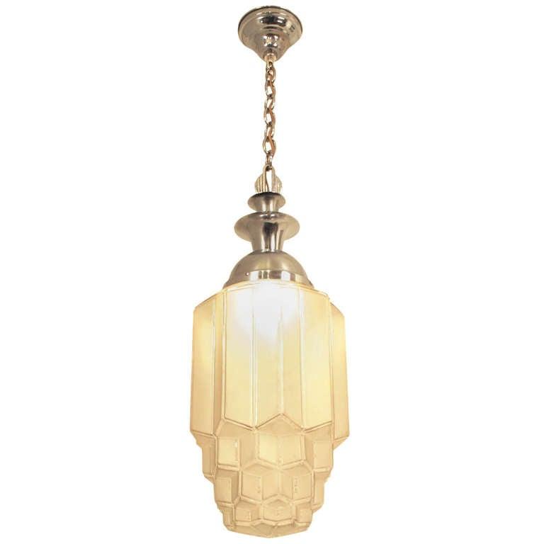 art deco hanging ceiling lamp at 1stdibs. Black Bedroom Furniture Sets. Home Design Ideas