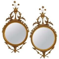 Pair Gilt Round Mirror
