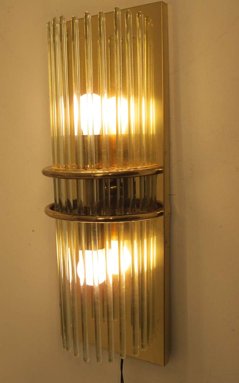 Pair of Mid Century Brass and Glass Wall Sconces For Sale at 1stdibs